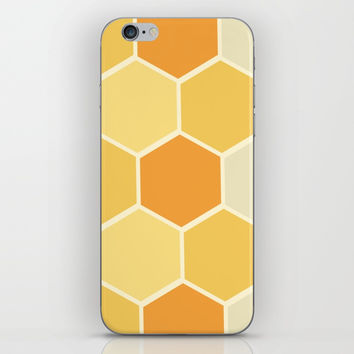 Yellow Honeycomb iPhone Skin by spaceandlines