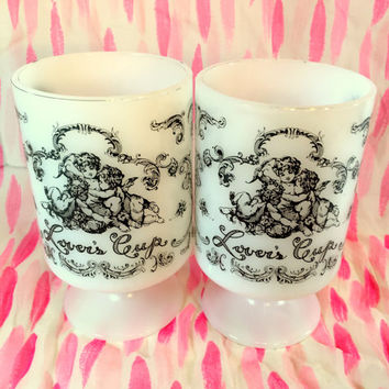 Milk Glass Lovers Cup Mugs Pair, Cupid, Wedding, Coffee Cups, Love, Valentine, Mid Century, Heart Handles