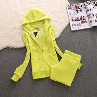 Juicy Couture Simple Pure Color Velour Tracksuit 611 2pcs Women Suits Lemon