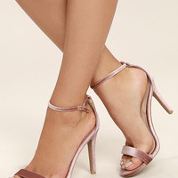 All-Star Cast Blush Velvet Ankle Strap Heels