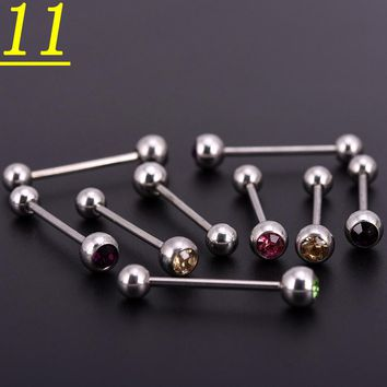 100pcslot Mix Colors Crystal Stainless Steel Ball Horseshoes Barbell Eyebrow Nose Navel Belly Tongue Rings Body Piercing Jewelry