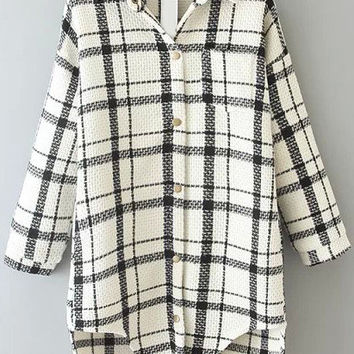 Black Lapel Long Sleeve Plaid Dip Hem Blouse