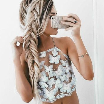 VON7NS Strap Backless Butterfly Embroidery Vest Tank Top Camisole