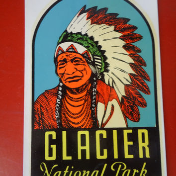 2 Vintage 1960 Travel Decals Montana Glacier National Park Lindgren -Turner Co Souvenir Ephemera Trailer Car Coach Auto Hot Rod