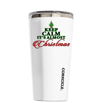 Corkcicle 16 oz Keep Calm Its Almost Christmas on White Tumbler