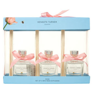 Kenneth Turner Set of Three Rose Fragranced Reed Diffusers
