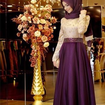 Muslim  wedding Dresses 2017 New Retro Jewel long sleeve burgundy long Dresses Beaded waist Bows Muslim  turban