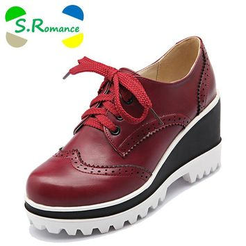 S.Romance Plus Size 34-43 Women Pumps Fashion Round Toe Lace-Up Med Heels Ankle Boots