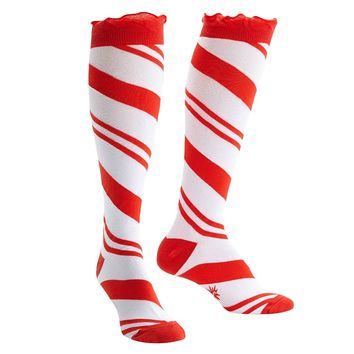 Sock It To Me Women's Knee High Funky Socks Christmas Holiday (Candy Cane)