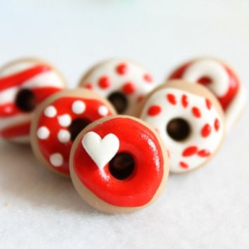 Red & White Donut Push Pins - Set of 6 Polymer Clay Donut Push Pins