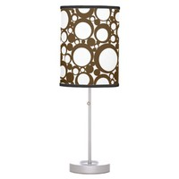 Brown Abstract Polka Dot Geometric Modern Art Desk Lamp