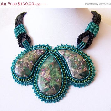 CIJ SALE Statement Beadwork Bead Embroidery Pendant Necklace - EMERALD Day - fluorite and pyrite - emerald - teal - apple green - black