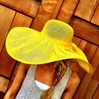 Yellow Floppy Summer Sun Hat Extra Wide Brim by ThreeBirdNest