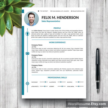 Resume Template Modern, Cover Letter + Portfolio Word, CV Template, Professional Curriculum Vitae Design, DIY CV Design Instant Download
