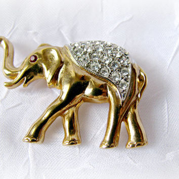 Elephant Brooch with Rhinestones, Vintage Figural Pin, Gold and Silver Tone, Red Rhinestone Eye, Trunk Up, Costume Jewellery, Republican