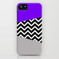 Neon Purple  Grey Chevron iPhone Pop Case iPhone & iPod Case by RexLambo
