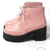 Leather Round Toe Walker Boot Pink - THE WHITEPEPPER