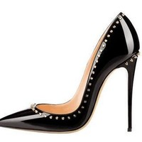 High quality Women Sexy Black Leather Shiny Rivet Pointy Toe Pumps High Heels Party Gi