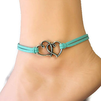 double heart anklet/bracelet,I love U,silver charm,mint flocking leather anklet,summer trending,lucky jewelry,unique personalized gift