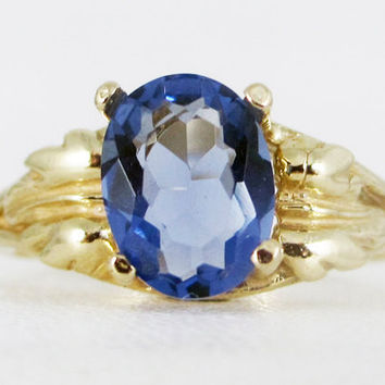 Tanzanite 14k Yellow Gold Oval Leaf Ring, December Birthstone Ring, Yellow Gold Tanzanite Ring, 14k Gold Tanzanite Oval Ring, 14k Gold Ring