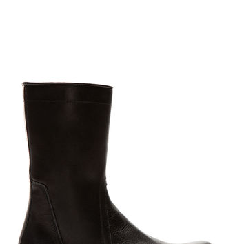 Rick Owens Black Leather Calf-high Boots
