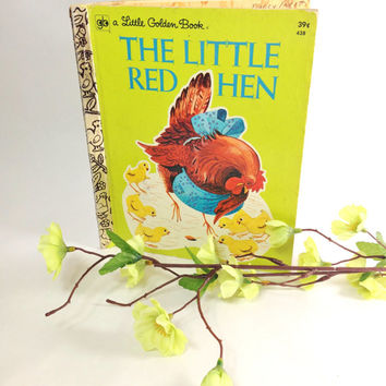 The Little Red Hen Collectible First Golden Book Printing Collectible Vintage Easter Basket Decor