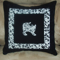 Pillow Cover Damask Cats 4 in Black and White by nhquiltarts