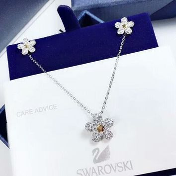 SWAROVSKI Women New fashion floral diamond sterling silver necklace and diamond earring Silver