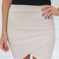 FLIRTING WITH FIRE MINI SKIRT - SAND