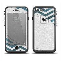 The Peeled Vintage Blue & Gray Chevron Pattern Apple iPhone 6 LifeProof Fre Case Skin Set