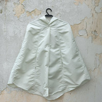 White Raincoat, Vintage Inspired Cape with Hood, Waterproof, Unisex Rain Cape