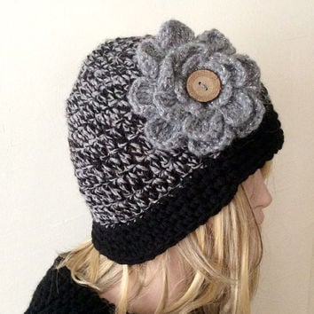 "Handmade Crochet Black and Grey tones Beanie, Boho ""Chunky """