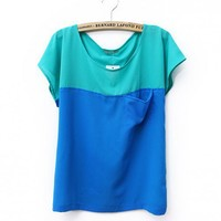 Women Summer New Candy Splicing Casual Loose Pocket Scoop Chiffon Green T-Shirt One Size@II1014g $10.77 only in eFexcity.com.