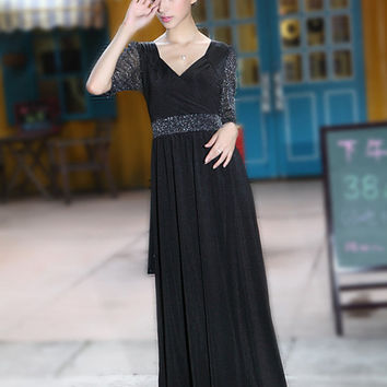 Black Maternity Dress Elegant Formal Maxi Dress Party Gown Pregnancy Wear
