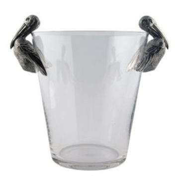 Pelican Pewter Handle Glass Ice Bucket