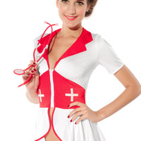 Notched Draped Patchwork Pin Up Nurse Costume