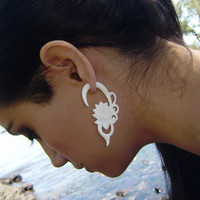 Fake Gauge  Natural White Bone Split Gauge Earrings lotu Flower Anela hand craved