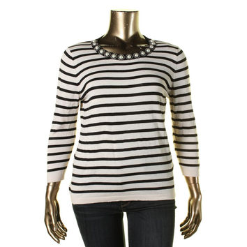 August Silk Womens Embellished Striped Pullover Sweater