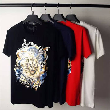 Casual Men Balmain T-Shirts Fashion Summer Style Balmain Men's T Shirt Cotton Funny Dragon Tiger Skull Print Robin T-Shirt Men Tops Tee