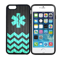 iPhone 6 (4.7 inch display) Designer Black Case - EMT Star Of Life - On Wood Teal Chevron Zig Zag Pattern