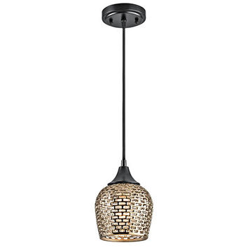 Kichler 43489BKGLD Annata Black Material One-Light Mini-Pendant with Gold Ceramic Shade