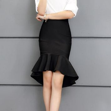 Fashion star style low-high fish tail skirt bust skirt ol slim high waist slim hip skirt ruffle step