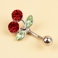 VONE7HQ OPAL FERRIE - Surgical Steel Red Cherry Rhinestones Inlaid Belly Button Navel Ring