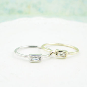 Sterling Silver. Dainty Zirconia Rectangle Ring in Silver and Gold. Hypoallergenic, cubic rings, everyday rings, simple rings