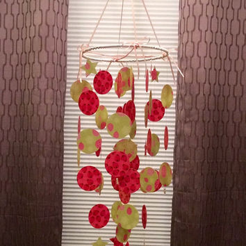 Lady Bug mobile, baby girl baby mobile, pinks and greens, paper chandelier, infant stimulation, nursury mobile, baby nursery decoration