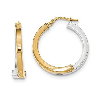 14K Two-Tone Gold Overlapping Square Tube Hoop Earrings
