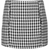 Dogtooth Zip Pelmet Skirt - Monochrome