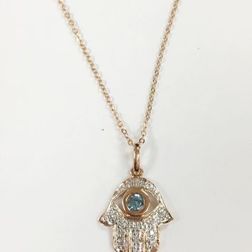 14k Gold Diamond Hamsa Blue Topaz Necklace