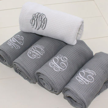 Grey Waffle Robe Custom Embroidered Monogram Wedding Robe