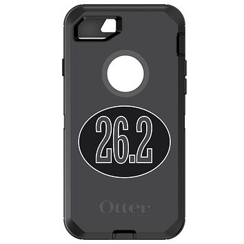 DistinctInk™ OtterBox Defender Series Case for Apple iPhone / Samsung Galaxy / Google Pixel - Black 26.2 Oval Marathon Run